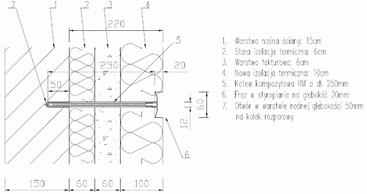 Montaż kotwy kompozytowej RM w warstwie nośnej ściany wielowarstwowej